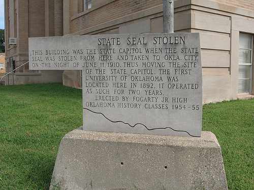 Exploring Oklahoma History: State Seal Stolen