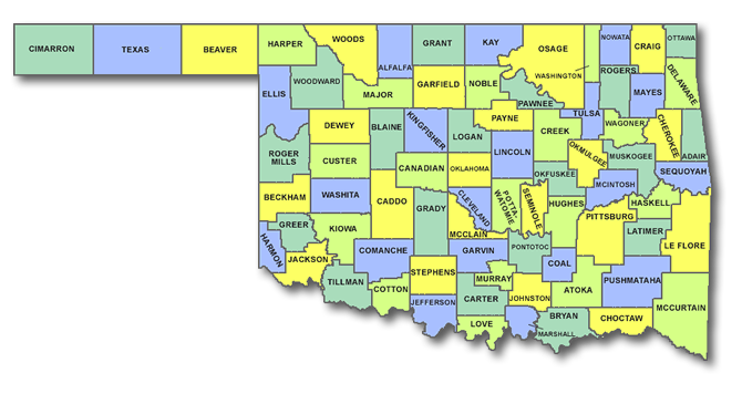 Exploring Oklahoma History All County List - Oklahoma county map